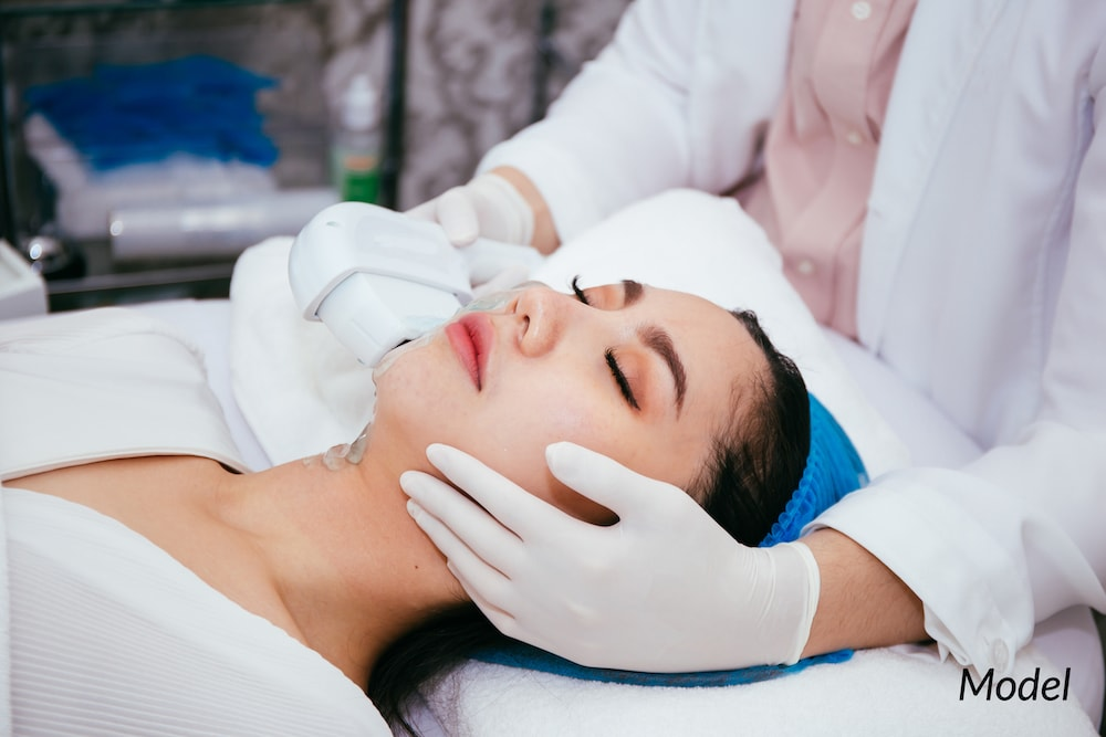 Women undergoing an IPL treatment at a medical spa.